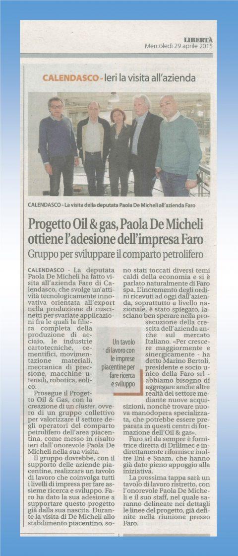 Progetto Oil & gas, Paola De Micheli ottiene l'adesione dell'impresa Faro